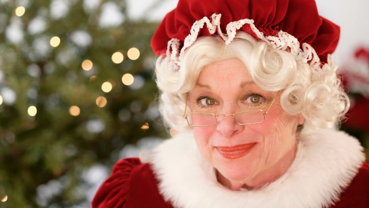 Mrs Claus looking at the camera