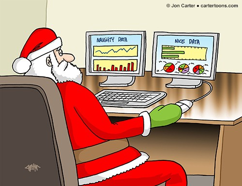 Father Christmas on a computer looking at data